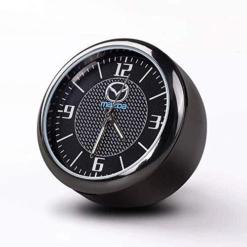 Runde Auto Uhr, Armaturenbrett Uhr, Hohe Genauigkeit Quartz Luminous Dial, perfekte Auto-Dekoration mit Vent Clip und doppelseitiges Klebeband for Auto (M-AZDA)
