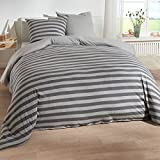 Traumschlaf Jersey Melange Wendebettwäsche Stripe grau 1 Bettbezug 135 x 200 cm + 1 Kissenbezug 80 x 80 cm