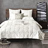 Ink+Ivy Masie 3 Piece Elastic Embroidered Cotton Comforter Set White King/Cal King