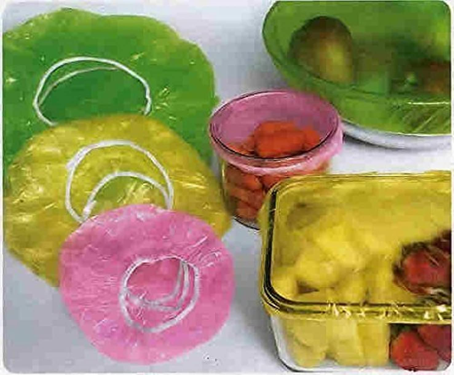 REUSABLE MULTICOLORED ELASTIC FOOD COVERS - 3 SIZES (SET OF 48)