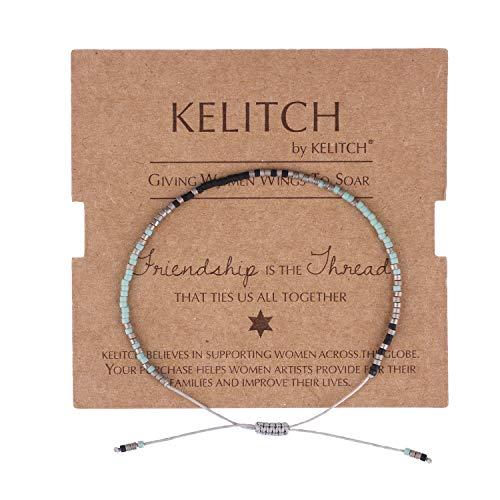 KELITCH Multicolor Kristall Freundschaft Armbänder Handgemachte Neue Miyuki Perlen Charme Armbänder Armreifen 2020 (Tiffany Blau K)