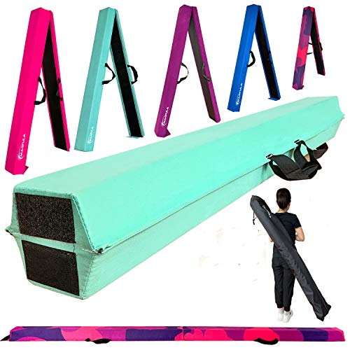 Marfula 6 FT / 8 FT / 9 FT Gymnastics Balance Beam Floor Folding Beam  Extra Firm  Suede Cover  Anti Slip Bottom with Carry Bag for Kids/Adults Home Use Teal 6 FT