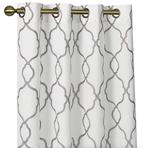 GoodGram 2 Pack Embroidered Semi Sheer Geometric Quatrefoil Grommet Top Window Curtains with Satin Backing for Privacy - Assorted Colors & Sizes (Gray, 95 in. Long)
