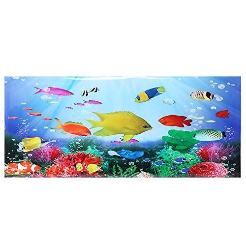 Oyunngs Aquarium Hintergrundbild für Aquarium, 3D-Effekt Tropenfisch Bild Poster, wasserdichte Unterwasser Wandtattoo Dekoration PVC Kleber Aufkleber(61 * 30cm)