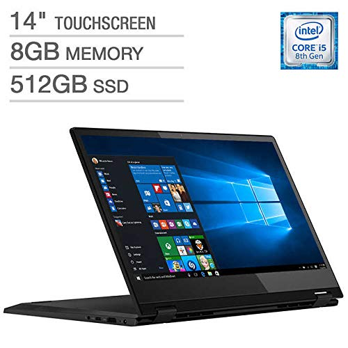 Latest_Lenovo Flex 14 2-in-1 FHD Touchscreen Laptop, Intel i5-8265U Processor, 8GB DDR4 RAM, 512GB SSD, HDMI, Fingerprint reader, USB 3.1 Type C, Media Card Reader, Backlit Keyboard, Dolby Audio,Win10
