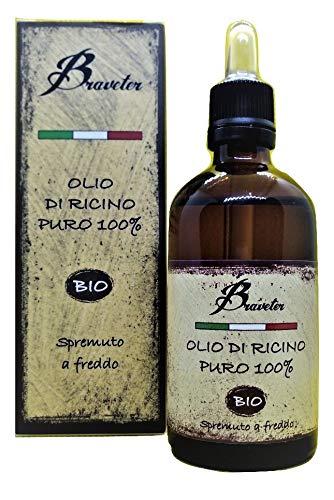 Braveter Olio Di Ricino Capelli Ciglia Sopracciglia Unghie Barba 100% Puro Biologico 100 ml Spremuto A Freddo Miracoloso Ricrescita Capelli Naturale BIO