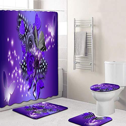 DAKERTA Weiche Badteppich-Set 4-teilig Badvorleger Badteppich WC Vorleger Badematte, Duschvorhang + Teppichdee + Toilettenabdeung + Badematte, rutschfest Drucken Badematten Bad-Accessoires