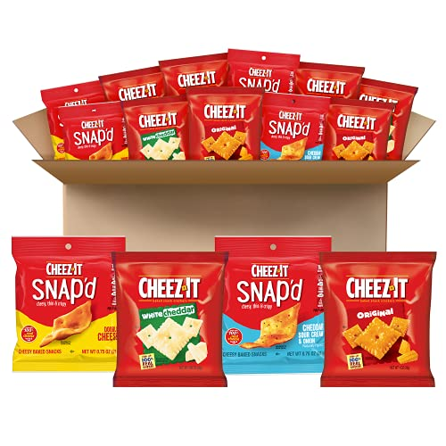 Cheez-It Baked Snack Cheese Crackers, 4 Flavor Variety Pack, School Lunch Snacks, Single Serve Bag (42 Bags)