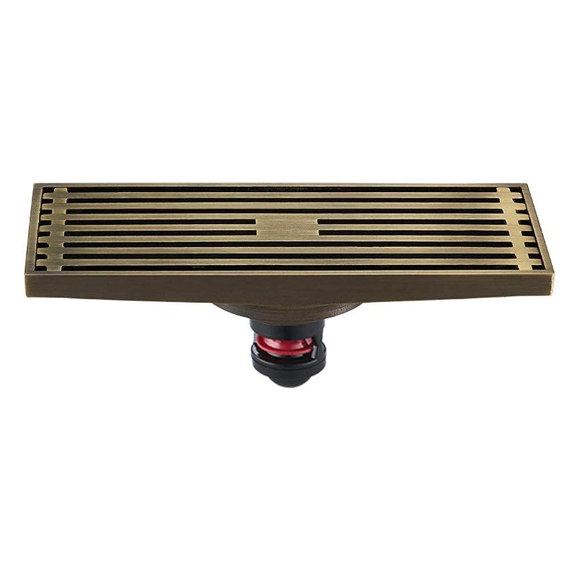 物理的なジェット意味する大流量デオドラントアンチウォーターバスルームの床排水タイルシャワーヘアーキャッチャーアンチ臭ストレーナーアンティークコッパー 浴槽の詰まり防止 (色 : ゴールド, サイズ : 20 x 8 x 7 cm)