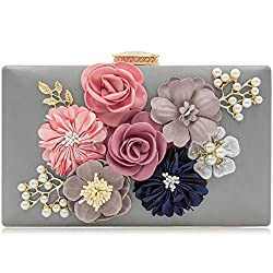 Floral Gray Clutch With Pearls and Rhinestones Purse