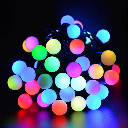 SurLight LED Ball String Lights with Slow Flashing, Waterproof Color Changing Globe String Light for Holiday Christmas (New Year Wedding Garden Lawn Patio Indoor & Outdoor Decoration, RGB)
