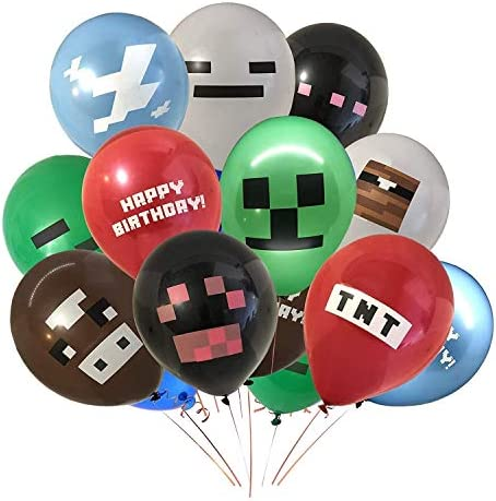 Pixel Miner Crafting Style Gamer Party Supplies 30 Pcs Pixel Miner Crafting Video Game Balloons product image