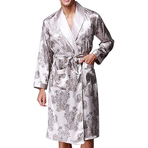 YANGPP Satin Silk Pyjamas Herren Robe Langarm Bademantel Lucky Dragon Print Gown Bademantel Nachtwäsche, Grau, XXL