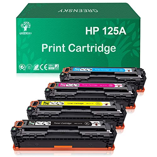 GREENSKY Compatible Toner Cartridge Replacement for HP 125A CB540A CB541A CB542A CB543A Color Laserjet CM1312 MFP CM1312nfi CP1215 CP1515n CP1518ni (Black, Cyan, Yellow, Magenta, 4-Pack)