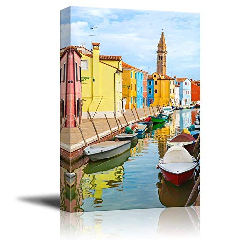 "Gogobebe Canvas Wall Art Print Paintings - Color Houses with Boats on Burano Island Near Venice, Italy - 16"" x 24"""