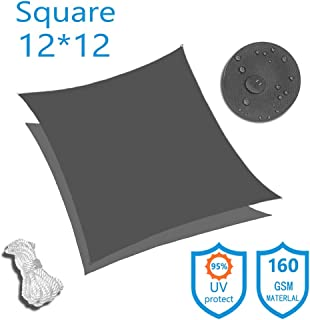 KUD Shade 12'x12' Square Dark Gray Waterproof Sun Shade Sail Canopy Perfect for Outdoor Garden Patio Permeable UV Block Fabric Up to 90% UV Protection