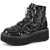 Womens Goth Platform Ankle Bootie Round Toe Non-slip Mid Chunky Heel Sweet Heart Punk Combat Boots For Women Mid Calf