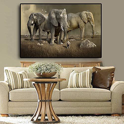 Geiqianjiumai Afrikaanse olifant dier landschap canvas schilderij poster en afdrukken Scandinavische moderne muur woonkamer afbeelding