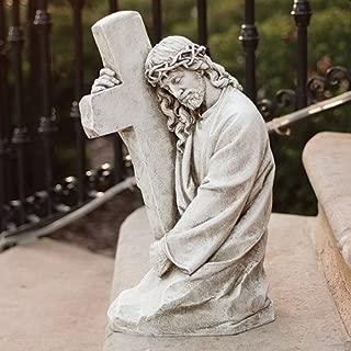 Roman Josephs Studio Jesus Holding Cross Outdoor Garden Statuary Figurine, 17.75