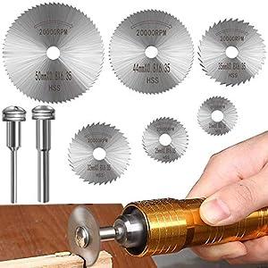 Hoja de corte Discos de corte para accesorios de herramientas rotativas Dremel Hojas de taladro de disco, Mini hojas de sierra circular para cortar madera, plástico, metal (8 piezas)