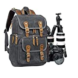 Abonnyc Camera Backpack Canvas SLR DSLR Camera Bag Backpack Large Capacity Front Open Waterproof Anti-Shock Backpack for Canon Nikon Fuji and Other Cameras Laptop Ipad, Dark Grey