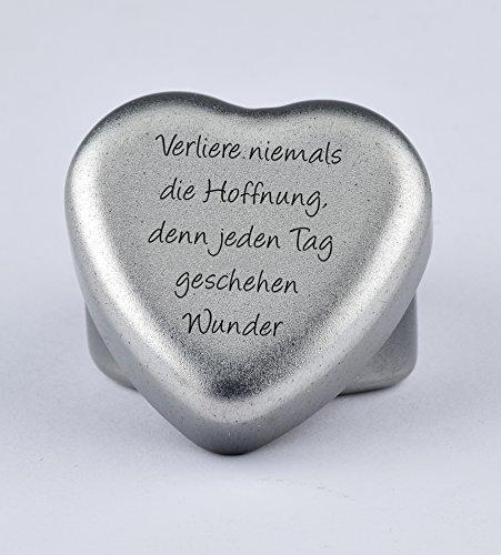 Duftkerze Teelicht Vanille in Herzform mit Gravur Spruch Verliere Niemals die Hoffnung, denn jeden Tag Geschehen Wunder auf dem Deckel als Geschenk