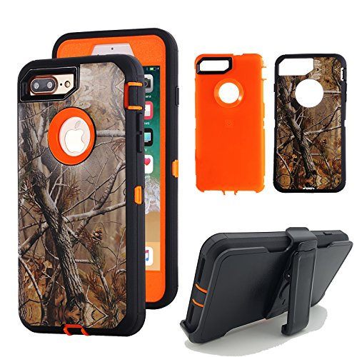 iPhone 8 Plus Holster Case, Kecko Tough Armor Natural Camouflage Tree Shockproof Impact Resistant Hybrid Military Heavy Duty Cover Case for iPhone 7/8 Plus Screen Protector Belt Clip