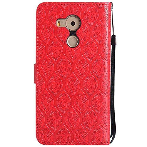 pinlu® PU Leder Tasche Handyhülle Für Huawei Ascend Mate 8 (6zoll) Smartphone Wallet Hülle Mit Standfunktion und Kartenfach Design Rattan Blume Prägung Rot - 2