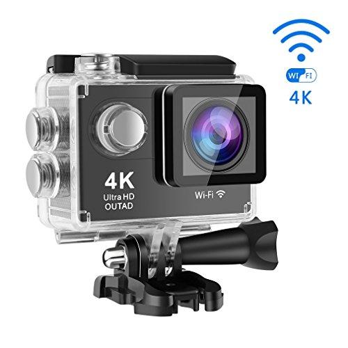 Impermeabile Sport Camera, 4K Action Cam con Wifi Telecomando Remoto, Full HD LCD Integrato da 2 Pollici, Fish Eye da 170°, IP68 30M, 1080P, Nero