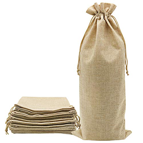 Shintop 10pcs Jute Wine Bags 1.5L, 16 x 6.7 inches Hessian Wine Bottle Gift Bags with Drawstring (Brown)