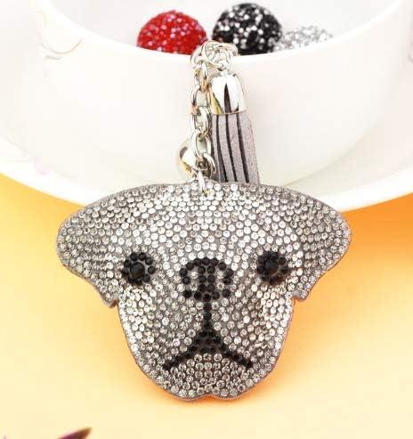 Crystal Dog Head Rhinestone Metal Bag Pendant Key Holder Keyring Keychain - Shipped from USA