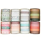 Knaid 40 Rolls of Slim Washi Tape Gift Box Set, Decorative Paper Tapes 10 mm Wide for Scrapbooking,...