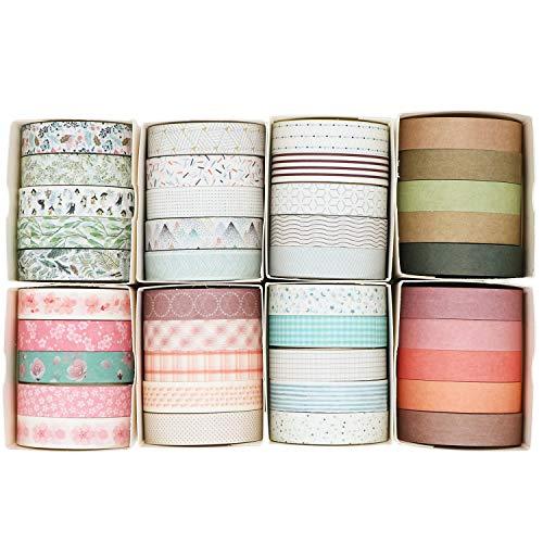 Knaid - Juego de 40 rollos de cinta adhesiva adhesiva adhesiva (0.394in de ancho, para álbumes de recortes, manualidades y manualidades, diario bala, planificador, diario de basura, cuadernos (minimalista)