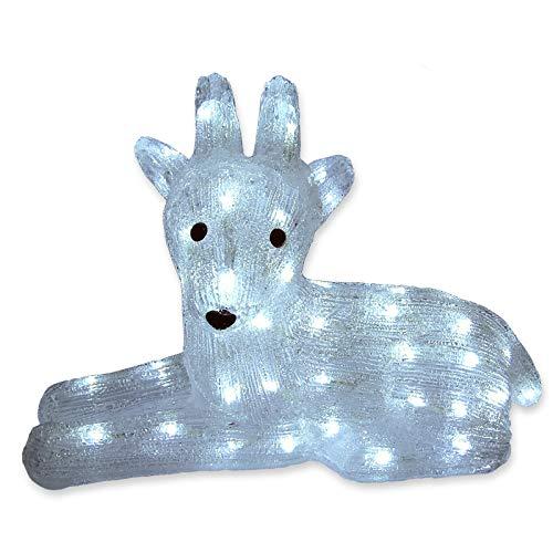 Rentier Figur aus Acryl LED kaltweiß beleuchtet für Weihnachten außen