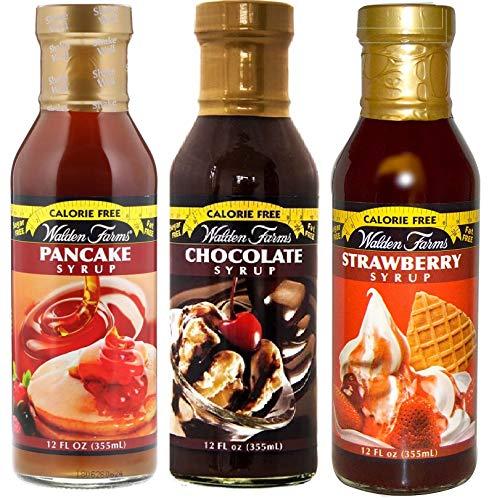 【3個セット】カロリーフリー Walden Farms ウォルデンファーム パンケーキシロップ355ml&チョコレートシロップ355ml&ストロベリーシロップ355ml [並行輸入品]