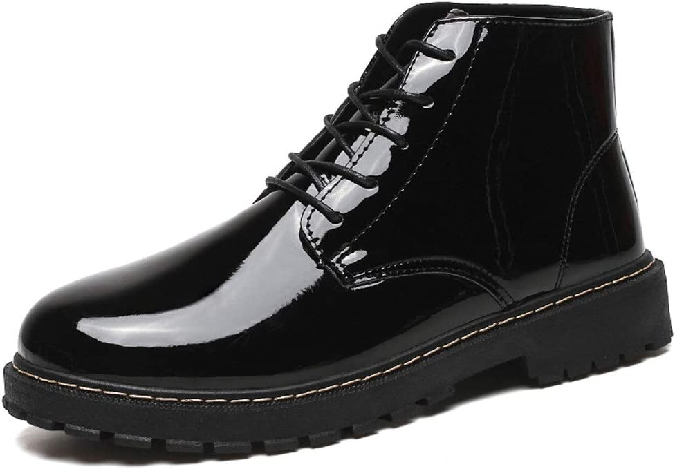 Zhukeke Men's Ankle Oxford Boots for Men Round Toe Lace-up Work Boot Derby Shoes Synthetic Patent Leather Lightweight Fashion Wear-Resistant (Color : Black, Size : 8.5 M US)
