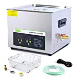 ONEZILI Ultrasonic Cleaner 15L, 360W Power Ultrasonic Parts Cleaner with Heater and Basket for Cleaning Carburetors Guns Bullets Brass Metal Parts, Professional Ultrasonic Bath Machine for Men