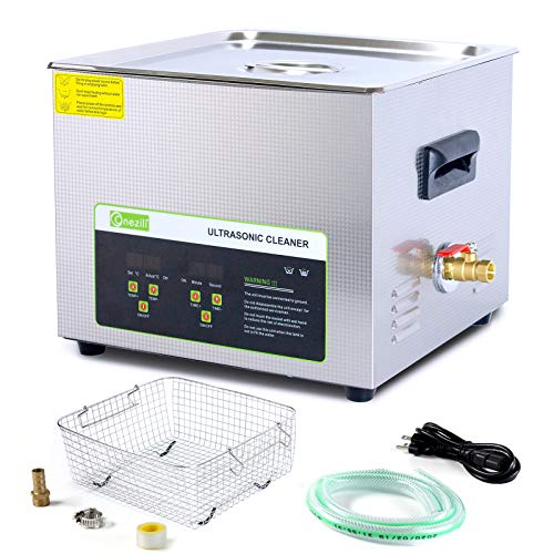 ONEZILI Ultrasonic Cleaner 15L, 360W Ultrasonic Power Parts Cleaner with Heater and Basket for Cleaning Carburetors Guns Bullets Brass Metal Parts, Professional Ultrasonic Bath Machine for Men