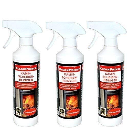 CleanPrince 3 x 0,5 Liter Kaminscheibenreiniger Kaminscheibenreiniger Ofen Glas Ruß Ofenglas Kaminglas Ofenreiniger Kaminreiniger Kaminreinigung Reiniger Reinigung Kaminscheibenreiniger