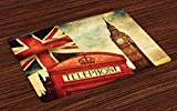 London Placemats for Dining Table, Vintage Style of London with National Flag UK Britain Old Clock Tower, Anti-Skid Heat Resistant Place Mat Table Decor for Kitchen Dinner Party, Set of 4, Multicolor