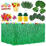 KAHEIGN 107Piezas Juego de Decoración de Fiesta Hawaiana Luau, Falda de Mesa Hawaiana de 9 Pies 3 Estilos Hojas de Palma Flores Hawaianas Tejido Piña Paraguas Multicolores Pajitas de Frutas 3D
