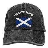 ONGH Herren & Damen verstellbare garngefärbte Denim-Baseballmützen Schottland-Flaggen-Hiphop-Mütze
