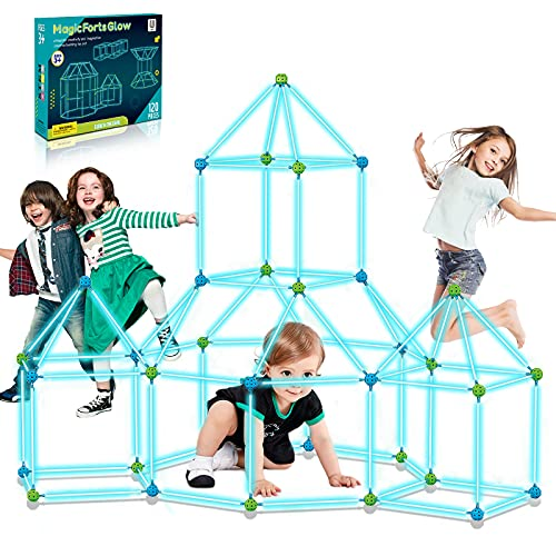 9IUoom Fort Building Kit for Kids 120 Pieces Glow in The Dark Air Forts Builder Gift Construction Toys for 3 4 5 6 7 8 9+ Years Old Boys Girls DIY Fun Fort Building Tunnels Play Tent Indoor Outdoor