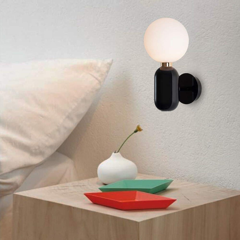 Bedolio Schlafzimmer Nachttischlampe LED Wandlampe Glaskugel einfache moderne Gang Korridor Balkon Lampe Wohnzimmer Wandlampe, schwarz
