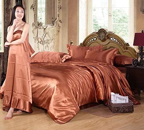 Perrkld Bettwäsche-Set für den Sommer, einfarbig, Eisseide, 4-teilig, Tencel-Bettbezug aus Seide, Farbe: -02, Queen