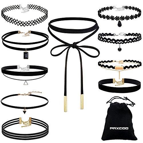 PAXCOO 10 Stück Choker Halskette Set Stretch Samt Classic Gothic Tattoo Spitze Choker für Damen und Mädchen
