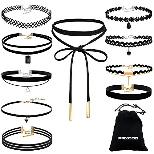 PAXCOO 10 Pcs Choker Necklace for Women Girls Black Classic Velvet Stretch Gothic Tattoo Lace