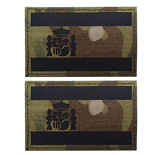 Parche reflectante de la bandera de España, parche militar táctico, moral, parche para coser en la ropa, accesorios (verde y negro)