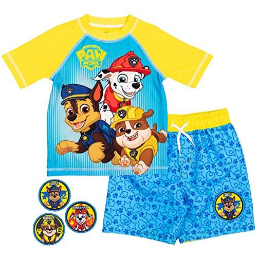 Paw Patrol Chase Marshall Rubble Toddler Boys Swim Rash Guard Swim Trunks Set Yellow/Blue 3T