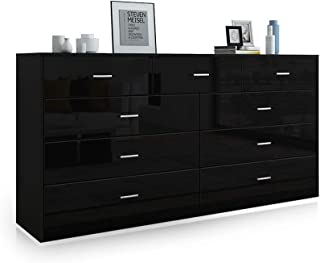 Buffet Sideboard 9 Chest of Drawer Storage Cabinet Units Tallboy High Gloss Front Bedroom Living Room Furniture Black 160CM